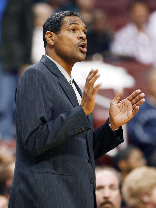 Then-Philadelphia 76ers coach Maurice Cheeks calls instructions to