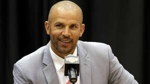 Jason Kidd speaks during a news conference at