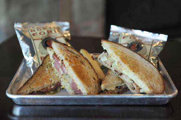 "The ""dueling Reubens"" features one half ""traditional"" reuben,"