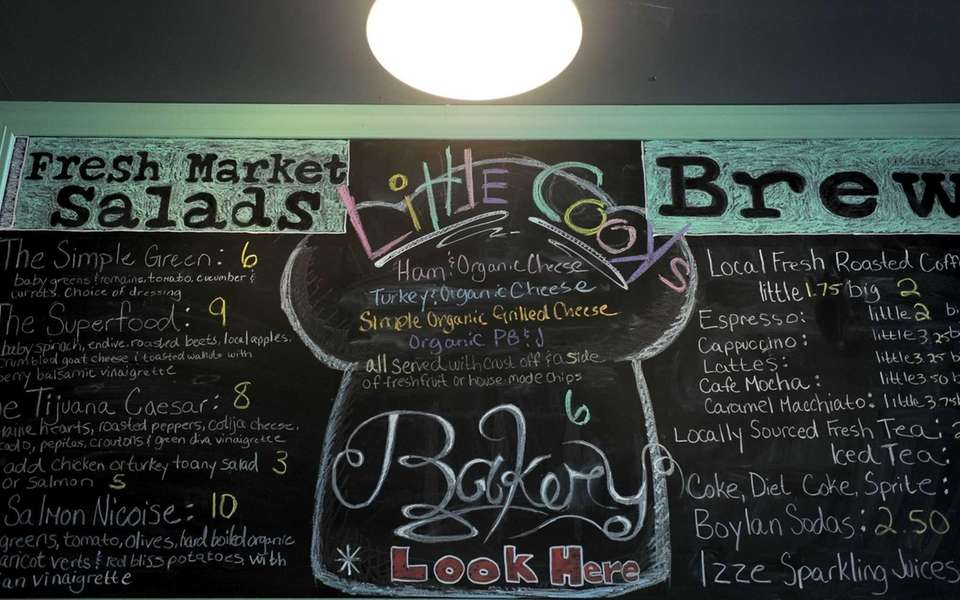 A chalk board menu at Cook's Scratch Kitchen