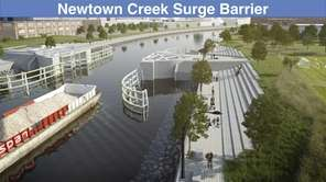 A rendering of the Newtown Creek surge barrier,