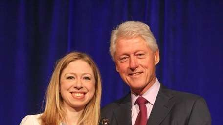 President Bill Clinton with daughter, Chelsea, at the