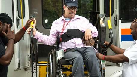 Vinny Pinello, 27, returns to his home in