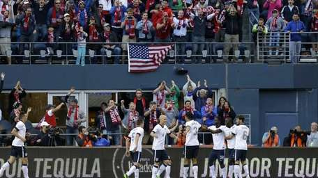 United States' Jozy Altidore, second from right, celebrates