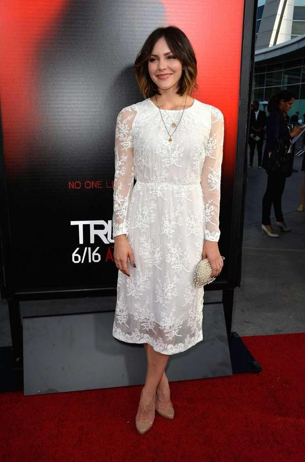 "Katharine McPhee attends the premiere of HBO's ""True"