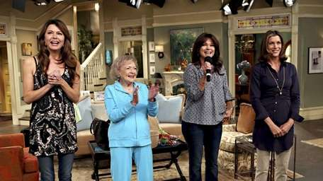 From left, Jane Leeves, Betty White, Valerie Bertinelli