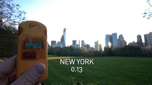 A geiger counter records the radiation level in