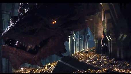 Smaug the dragon and hobbit Bilbo Baggins in