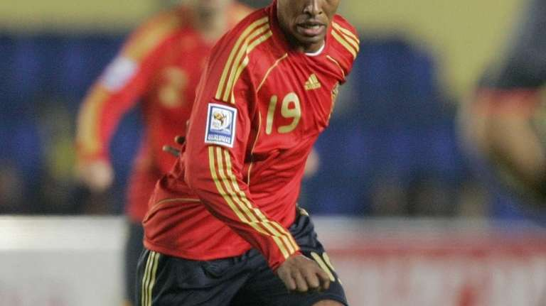 Spain's Marcos Senna controls the ball during a