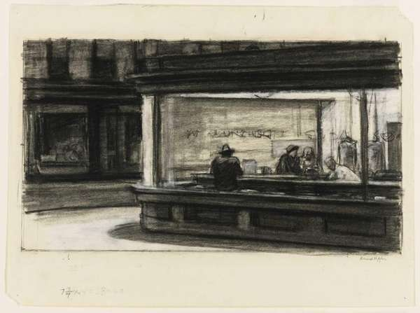 "Edward Hopper's study for the painting ""Nighthawks"" is"