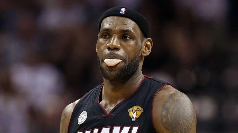 LeBron James of the Miami Heat reacts in