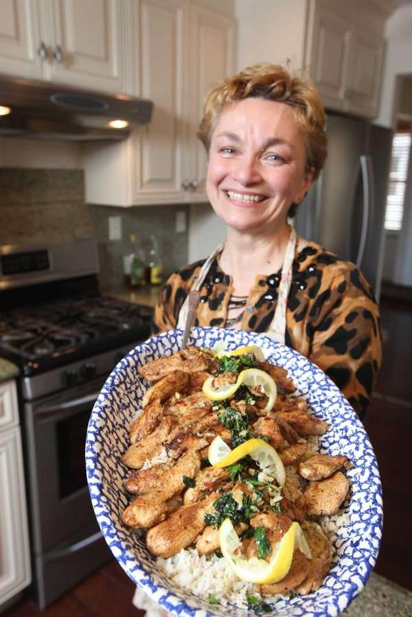Catherine Cappiello Pappas with her lemon chicken dish