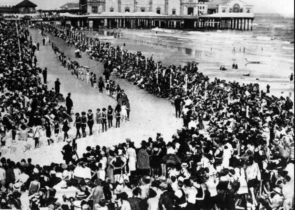 Miss America contestants on Atlantic City's seafront in