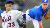 A composite image of Mets pitchers Matt Harvey,