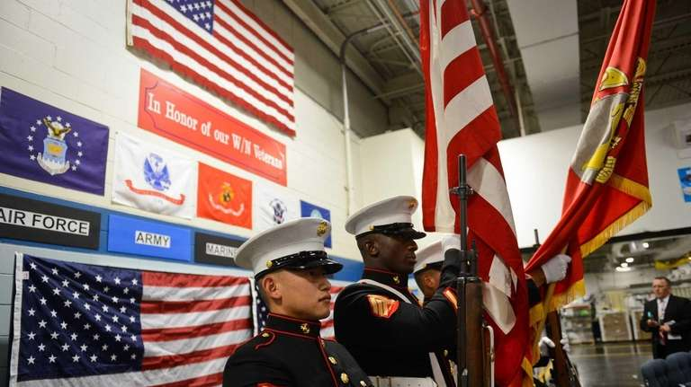 The United States Marine Corps. honor guard displays