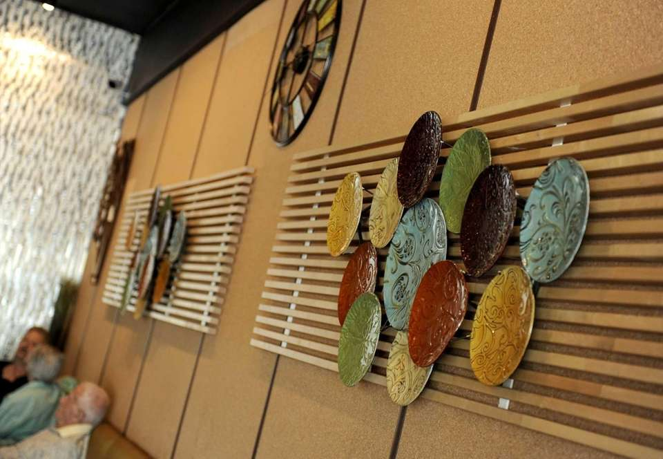 Mediterranean-themed decor lines the walls at Gyrolicious in