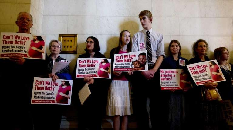 Opponents to expanded abortion rights in New York