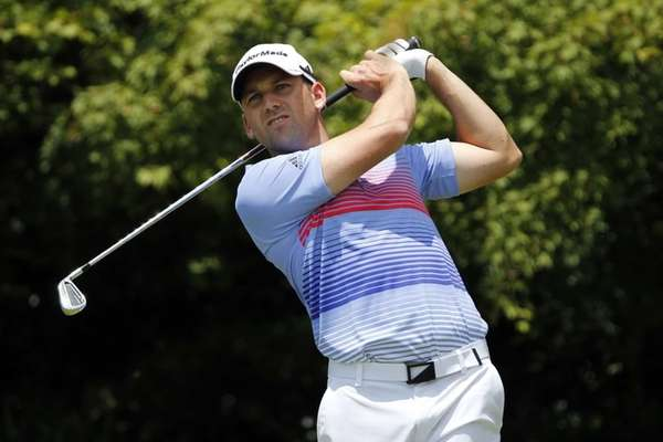 Sergio Garcia hits his tee shot on the