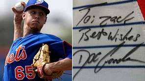 A composite of Zack Wheeler and his signed