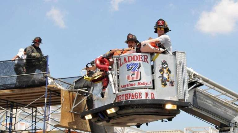 A construction worker was rescued from a 40-foot