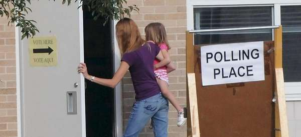 A voter arrives Tuesday morning at Merrimac Elementary