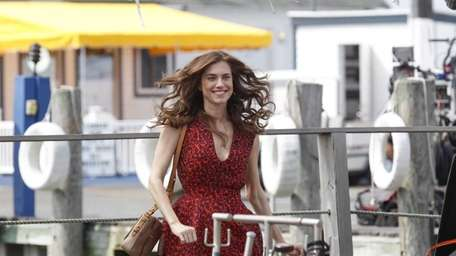 Actress Allison Williams during filming of the HBO