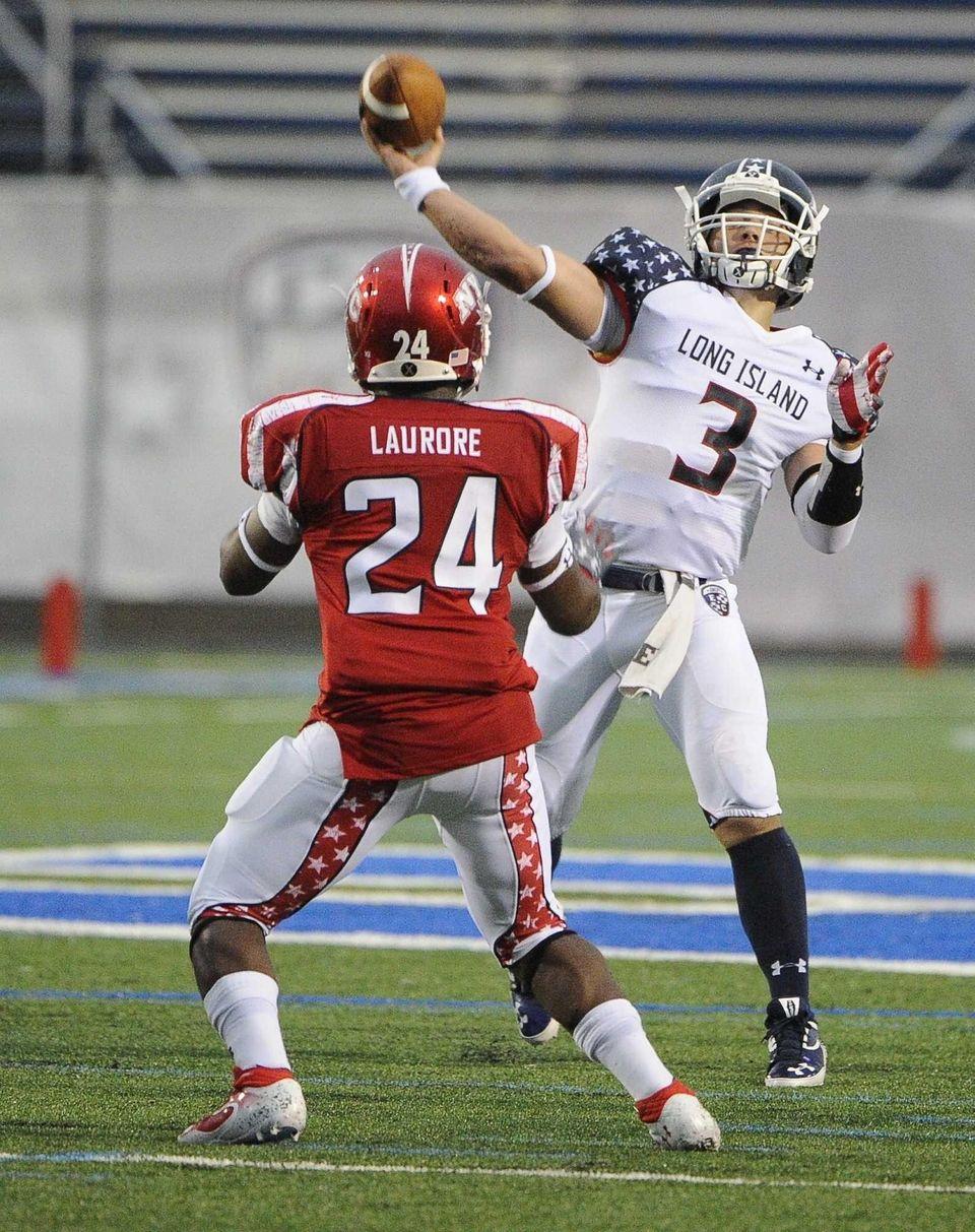 Long Island team quarterback A.J. Otranto passes the