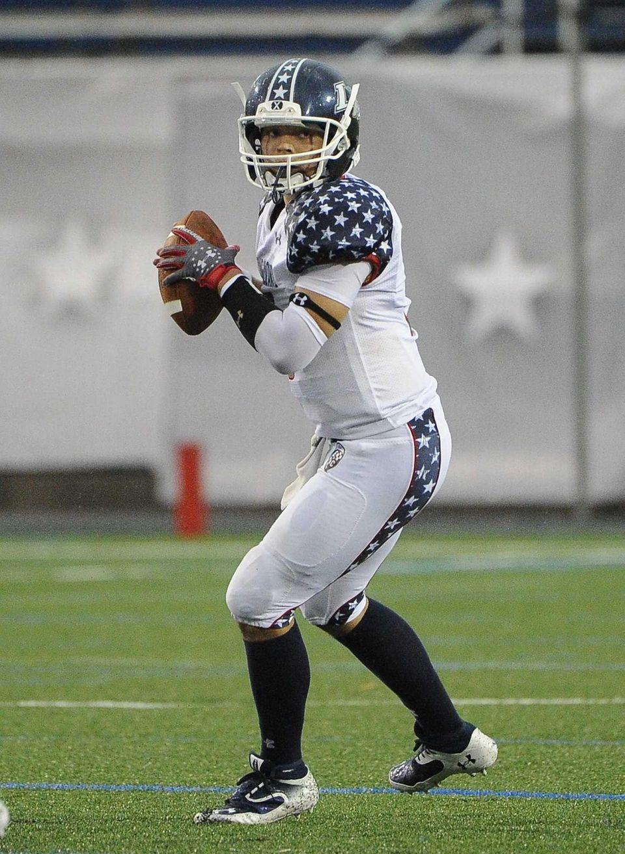 Long Island team quarterback A.J. Otranto looks to