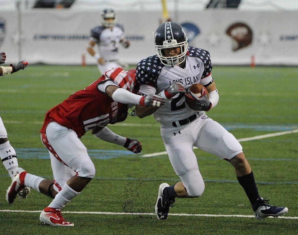 Long Island team's Tom Kelleher drives the ball