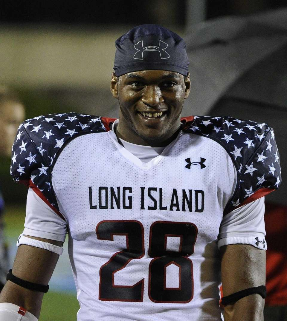Long Island team running back William Stanback reacts