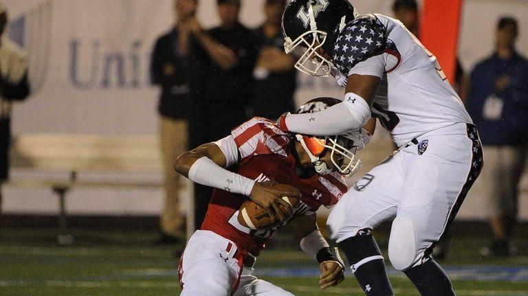 Long Island team defensive end Nick Ross sacks
