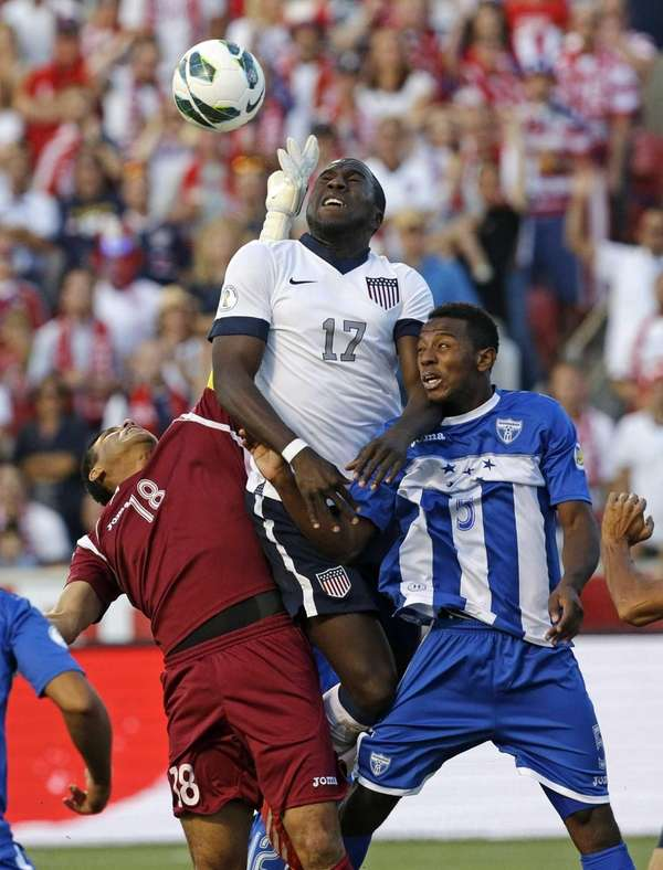 United States' Jozy Altidore heads the ball as