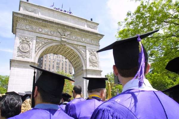 New graduates of New York University head toward