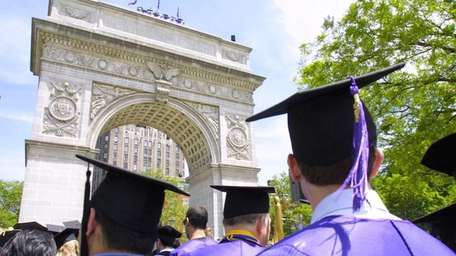 New graduates of New York University head toward