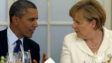 U.S. President Barack Obama and German Chancellor Angela