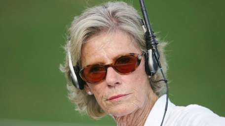 ABC Sports reporter Judy Rankin works during the