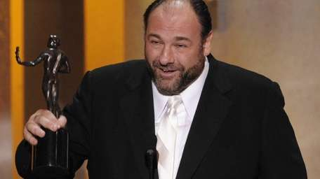 James Gandolfini accepting the award for outstanding performance