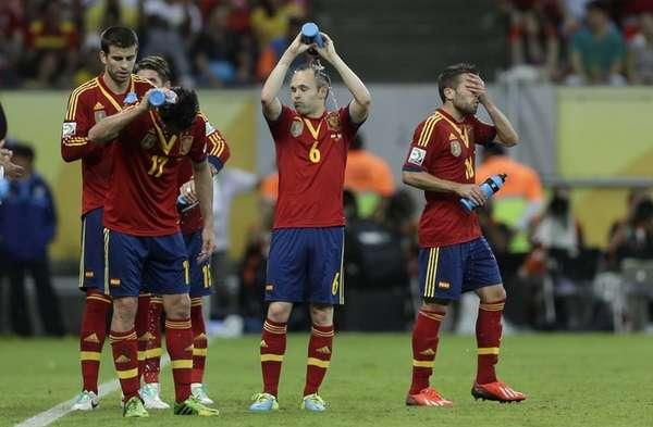 Spain's Gerard Pique, Pedro Rodriguez, Andres Iniesta and