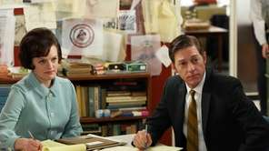 Elisabeth Moss as Peggy Olson and Kevin Rahm