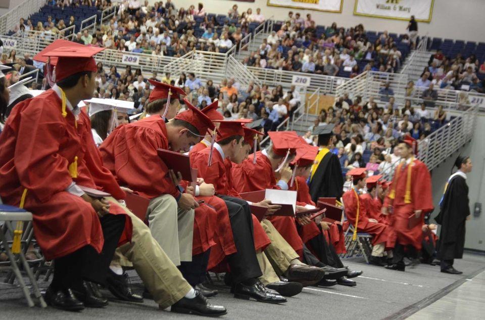A row of new Syosset High School graduates