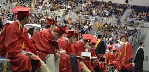 A row of new Syosset High School graduates