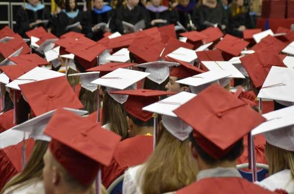 A sea of mortarboards at Syosset High School's