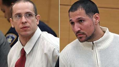 Kevin Santos, left, 32, looks at his attorney