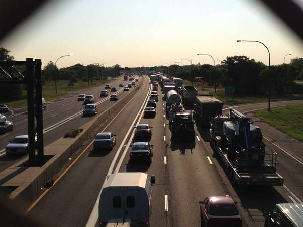 Slow moving traffic on the Long Island Expressway
