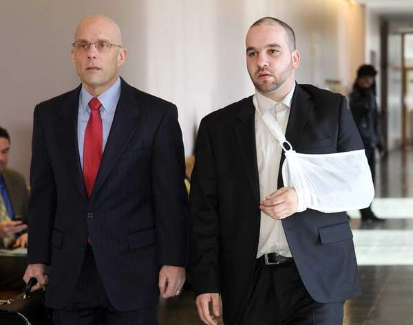 Thomas Moroughan, right, and his attorney, William Petrillo,