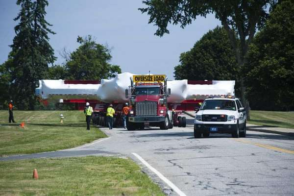 A 50-foot-wide electromagnet begins its long journey from
