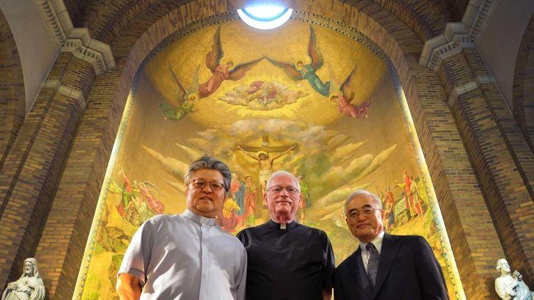 (L-R) Father Paul Kim, Monsignor Brendan Riordan and
