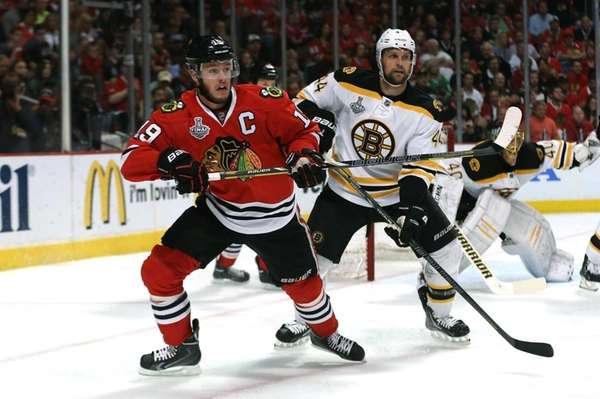 Jonathan Toews of the Chicago Blackhawks skates against