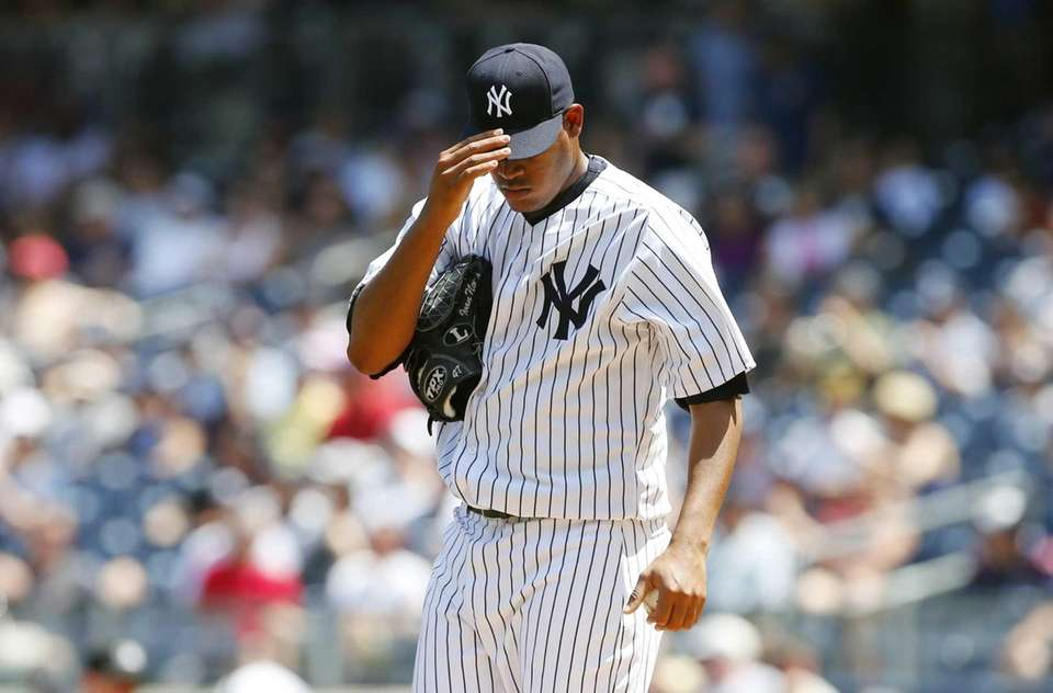 Ivan Nova of the Yankees stands on the