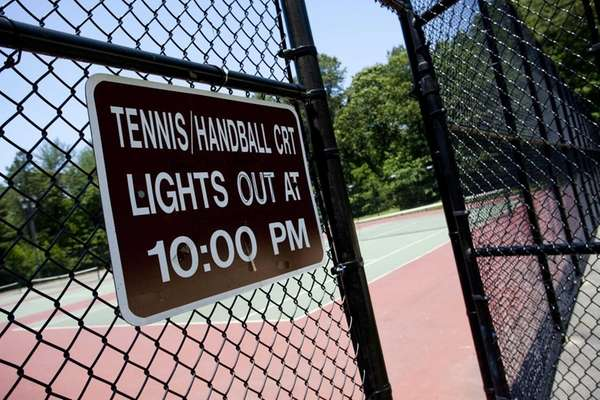 The tennis courts at Hidden Pond Park in